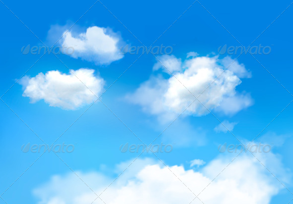 Blue Sky with Clouds. Vector Background - Nature Conceptual