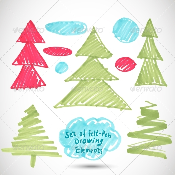 Christmas Tree. Doodle Set Felt Pen Tree - Patterns Decorative
