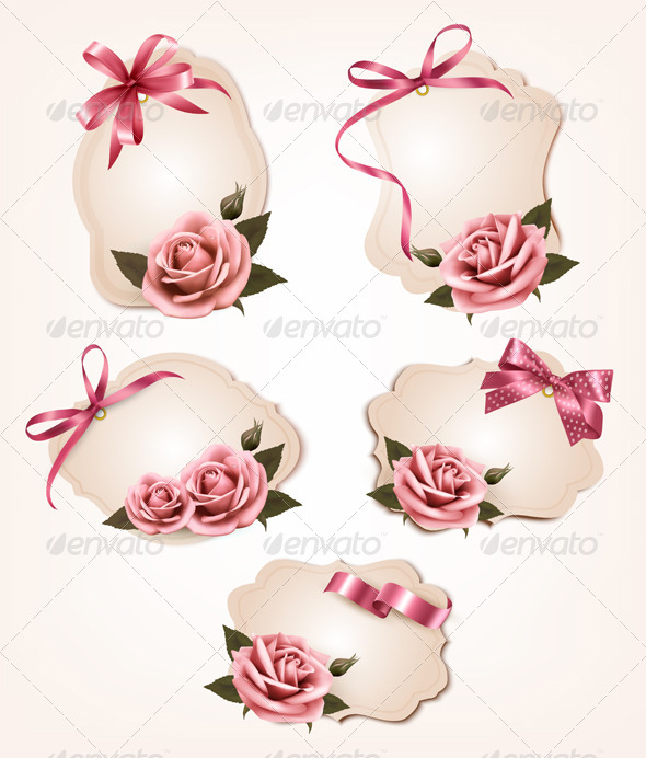 Collection of Retro Greeting Cards with Pink Roses - Seasons/Holidays Conceptual