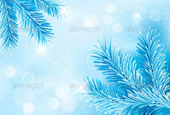 Christmas Blue Background with Christmas Tree  - Christmas Seasons/Holidays