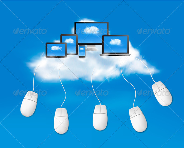 Cloud Computing Concept Background with Mouses.  - Web Technology