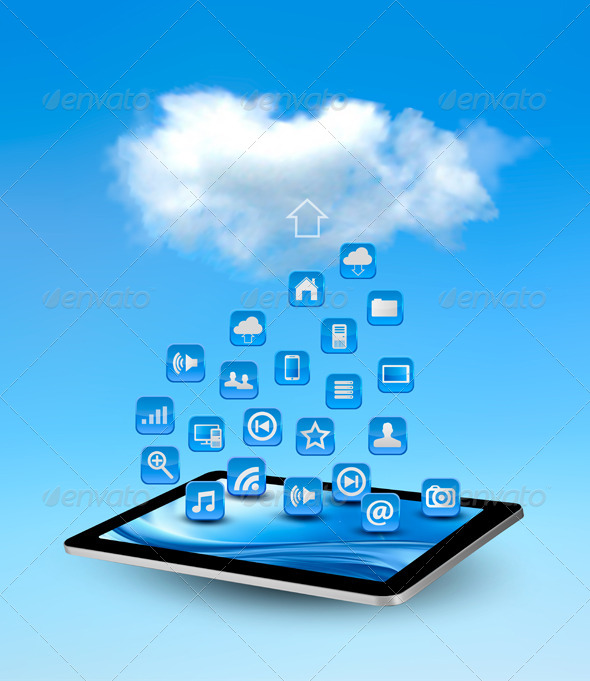 Cloud Computing Concept Background with Icons.  - Web Technology