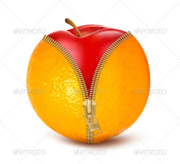 Unzipped Orange with Red Apple. - Health/Medicine Conceptual