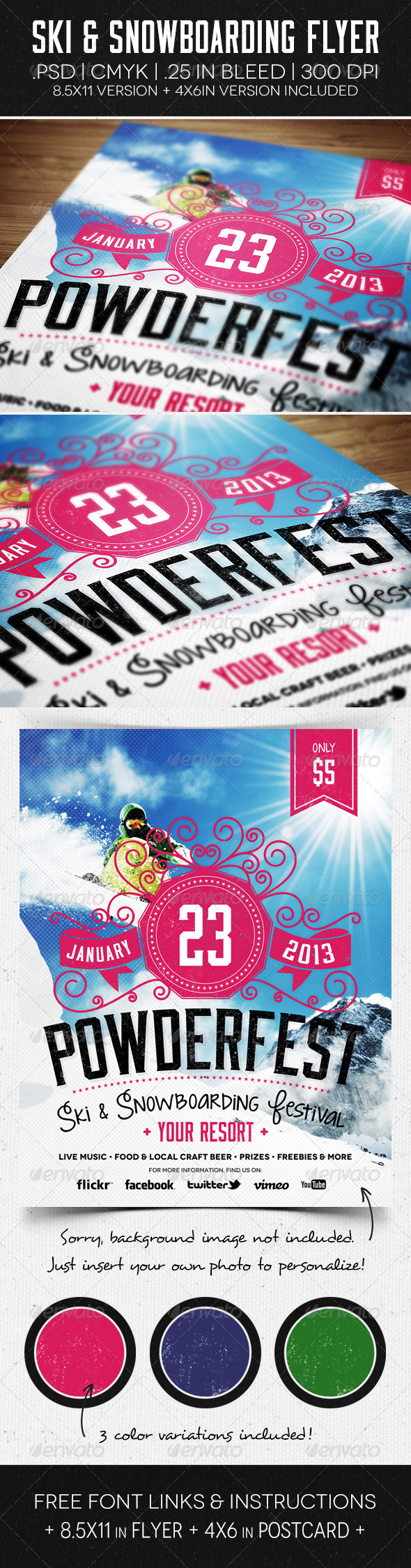 Ski & Snowboard Flyer & Postcard - Events Flyers
