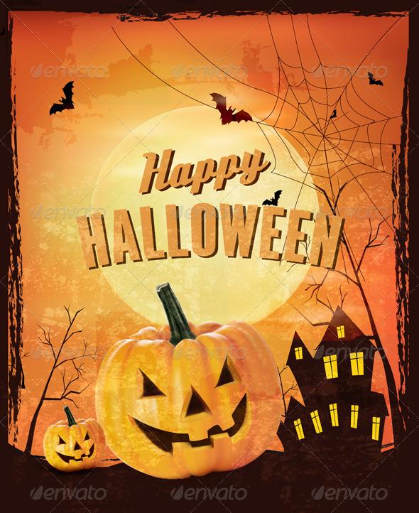 Retro Halloween Background Vector  - Halloween Seasons/Holidays