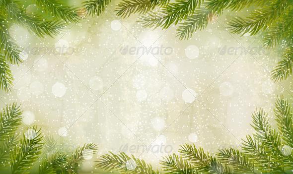 Christmas Retro Background with Christmas Tree  - Christmas Seasons/Holidays