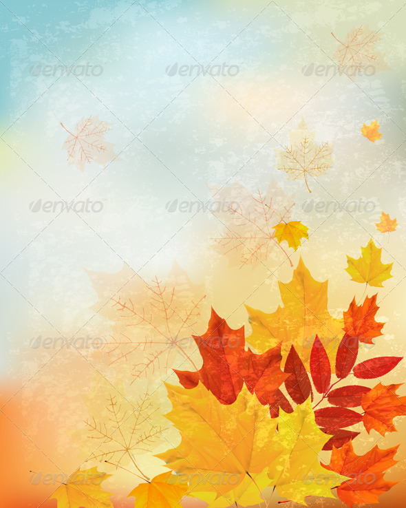 Abstract Retro Autumn Background for your Design.  - Seasons Nature