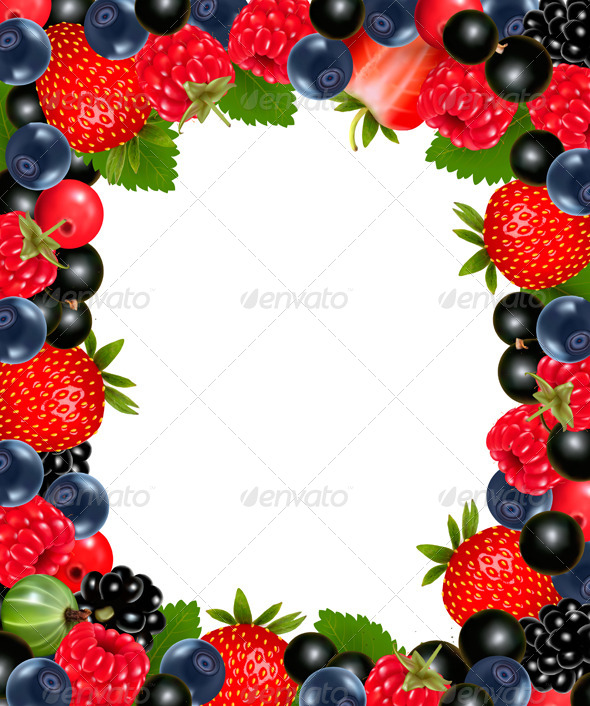 Background with Fresh Berries and Cherries.  - Food Objects