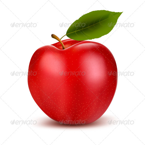 Red Apple and Green Leaf. - Food Objects