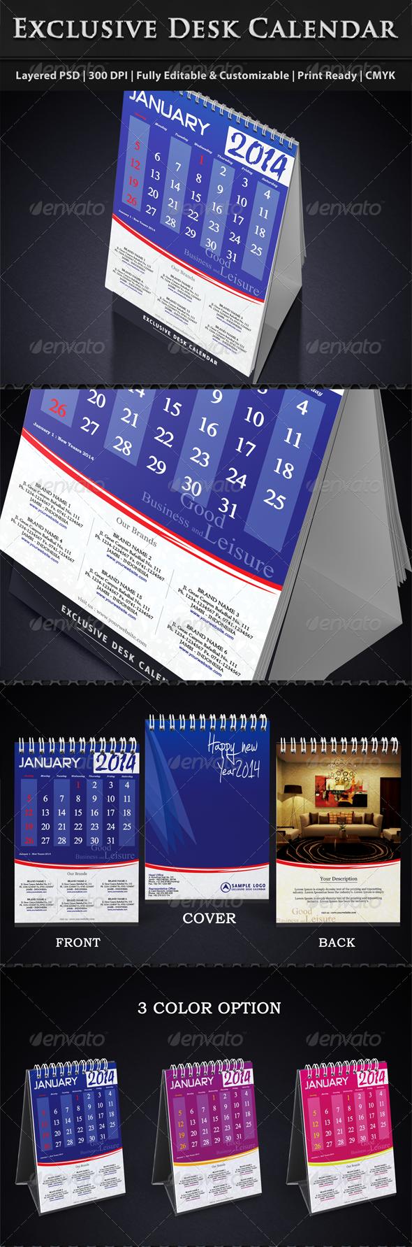 Exclusive Desk Calendar Template 2014 - Calendars Stationery