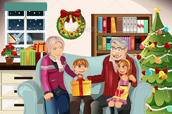 Grandparents and Grandchildren on Christmas Time - Christmas Seasons/Holidays