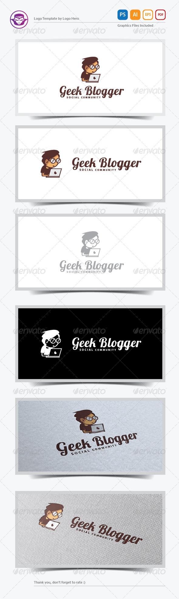 Geek Blogger Logo Template - Humans Logo Templates