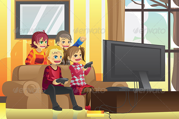 Kids Playing Video Games - People Characters