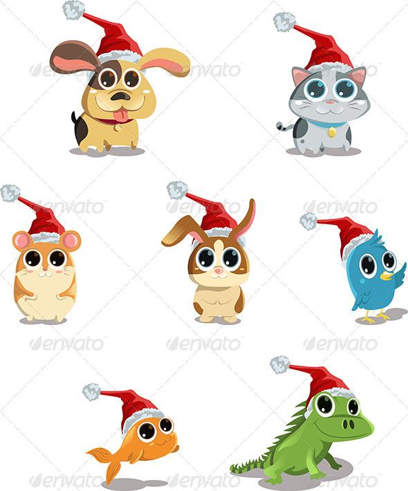 Animals Wearing Santa Hat - Christmas Seasons/Holidays