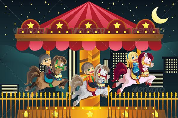 Children in Amusement Park - People Characters
