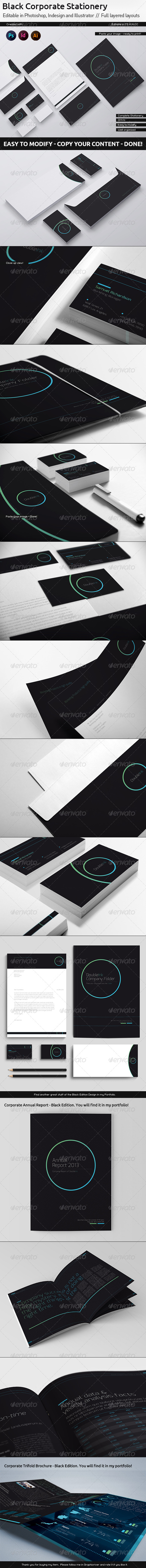 DoubleInk Corporate Stationery - Black Edition - Stationery Print Templates