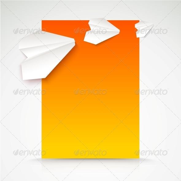 Paper Airplane Postcard. - Travel Conceptual