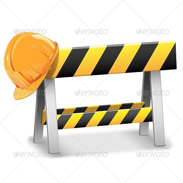 Vector Under Construction Barrier with Helmet - Industries Business