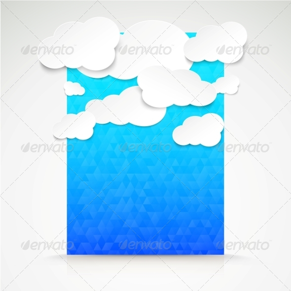 Paper Clouds with Blue Illustration Background. - Abstract Conceptual