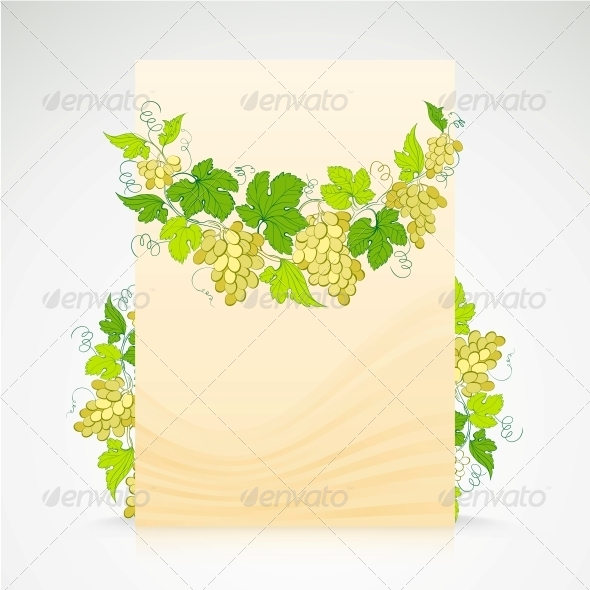 Wine List Design with Grapes Decoration. - Flowers & Plants Nature