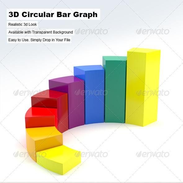 3D Circular Bar Graph - 3D Renders Graphics