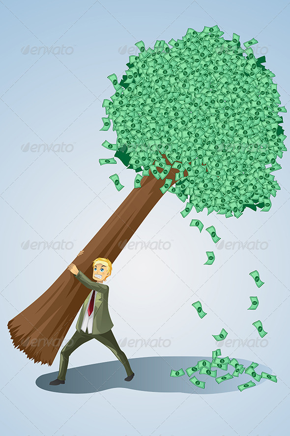 Businessman Lifting Money Tree - Business Conceptual