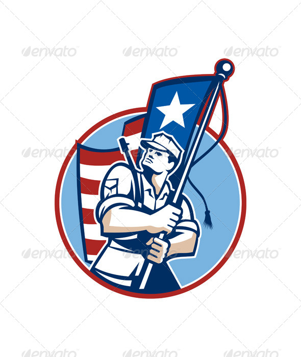 American Patriot Serviceman Soldier Flag Retro - People Characters