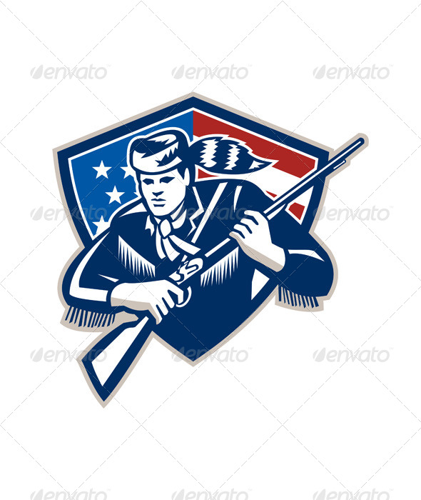 American Frontiersman Patriot Stars Stripes Flag - People Characters