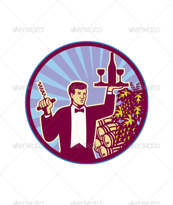Waiter Serving Wine Glass Bottle Retro - Animals Characters