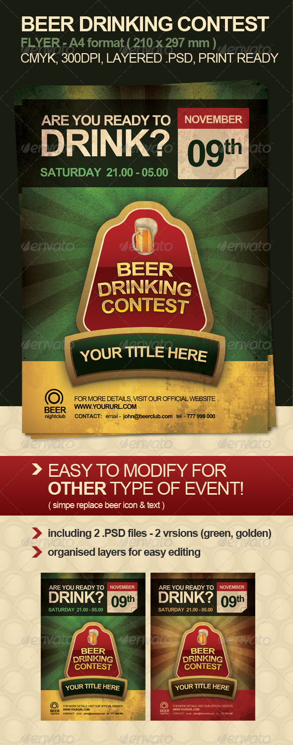 Beer Drinking Contest Flyer - Miscellaneous Events