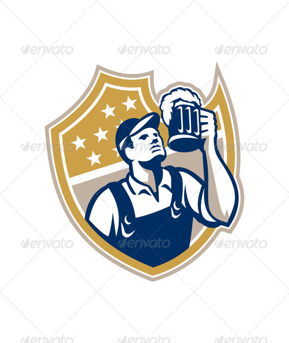 Barman Bartender Beer Mug Retro - People Characters