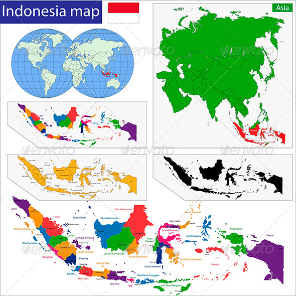 Indonesia Map By Volina GraphicRiver - Indonesia map