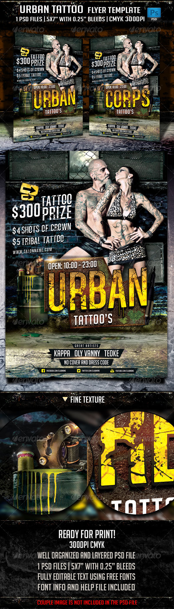 Urban Tattoo Flyer Template - Clubs & Parties Events