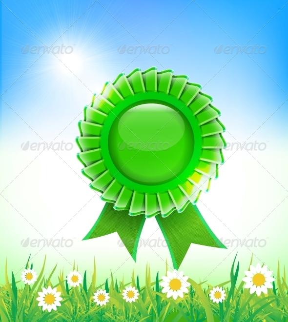 Natural Green Badge on Grass Background - Landscapes Nature
