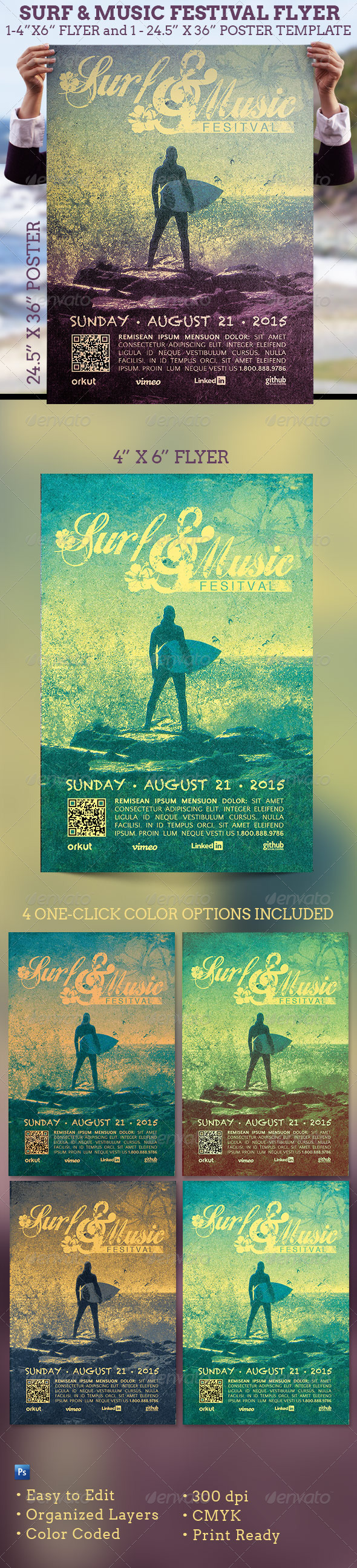 Surf Music Festival Flyer Plus Poster Template - Events Flyers
