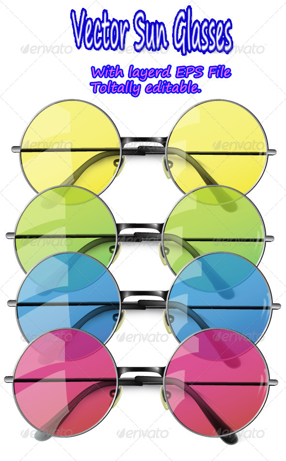 Summer Sun Glasses Isolated on White - Man-made Objects Objects