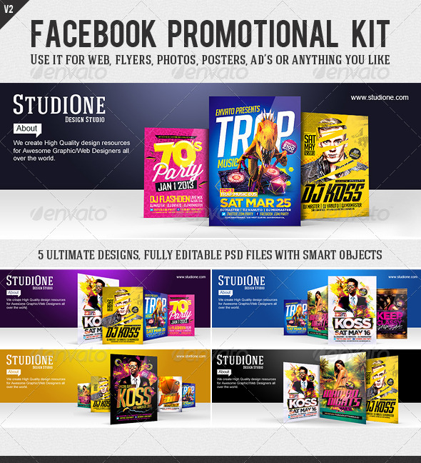 FB Promotional Kit V2 - Facebook Timeline Covers Social Media