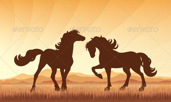 Horses on Field with Sunset Background - Animals Characters