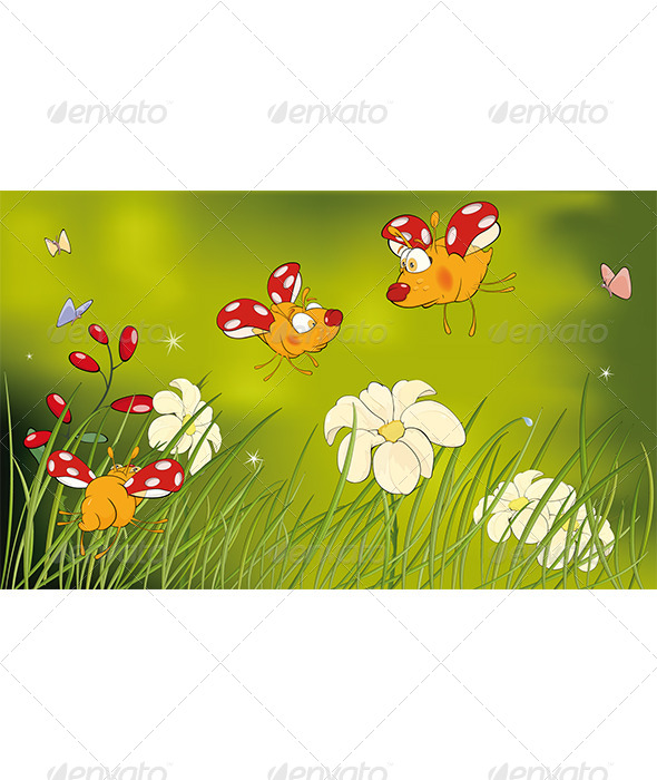 Ladybirds and Flower Glade Cartoon - Seasons/Holidays Conceptual