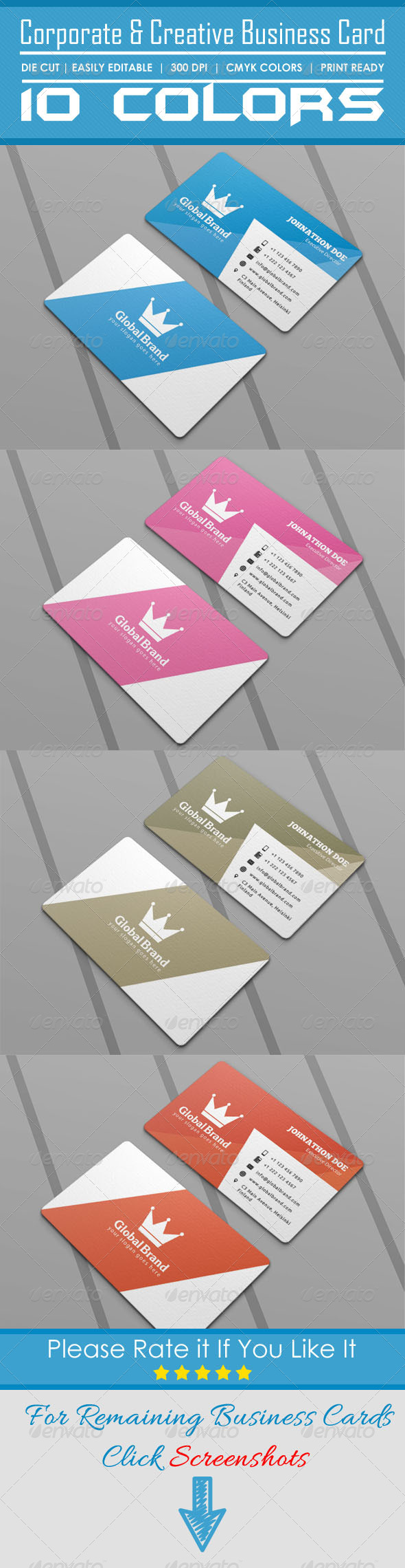 Corporate & Creative Die Cut Business Card - Corporate Business Cards