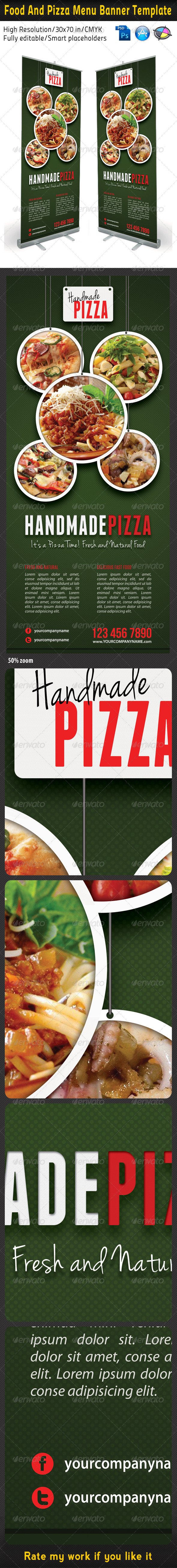 Food And Pizza Menu Banner Template 03 - Signage Print Templates