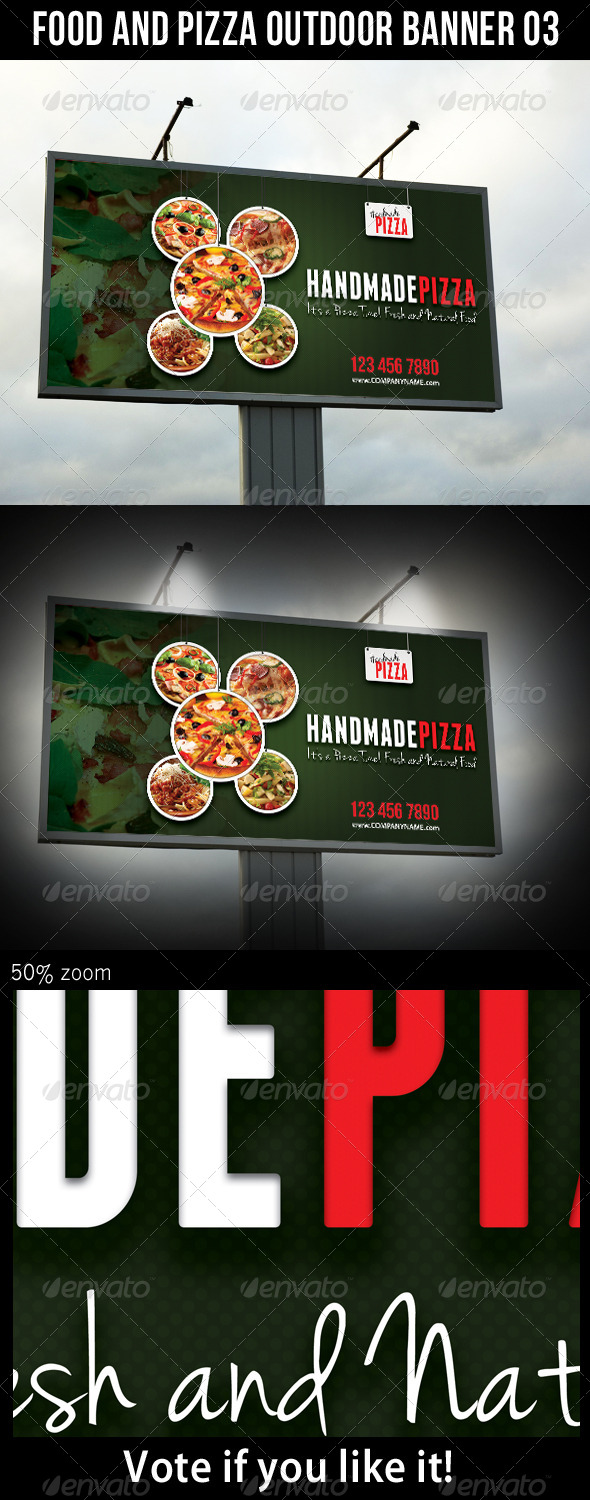 Food And Pizza Outdoor Banner 03 - Signage Print Templates