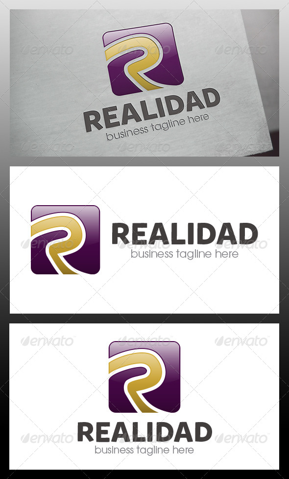 Realidad R Letter Logo Template - Letters Logo Templates