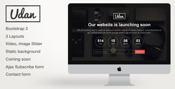 Udan – Responsive Coming Soon page Template