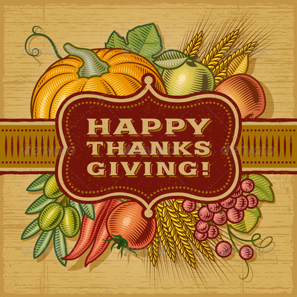 Happy Thanksgiving Retro Card - Miscellaneous Seasons/Holidays