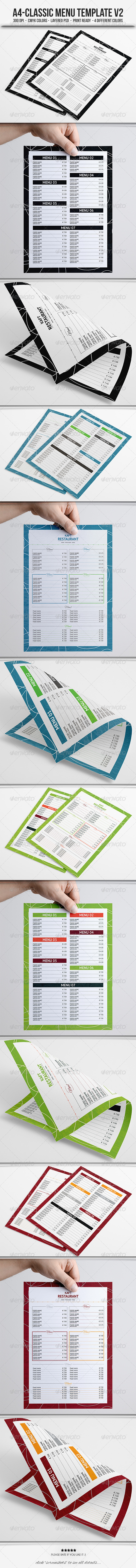 Classic Menu Template V2 - Food Menus Print Templates