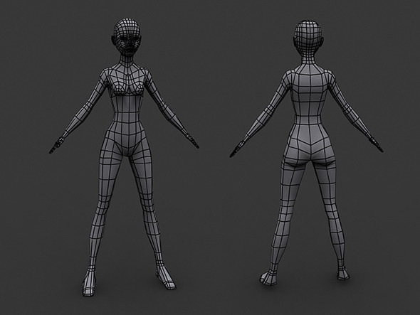 Human Manga Female Base Mesh - Low Poly - 3DOcean Item for Sale