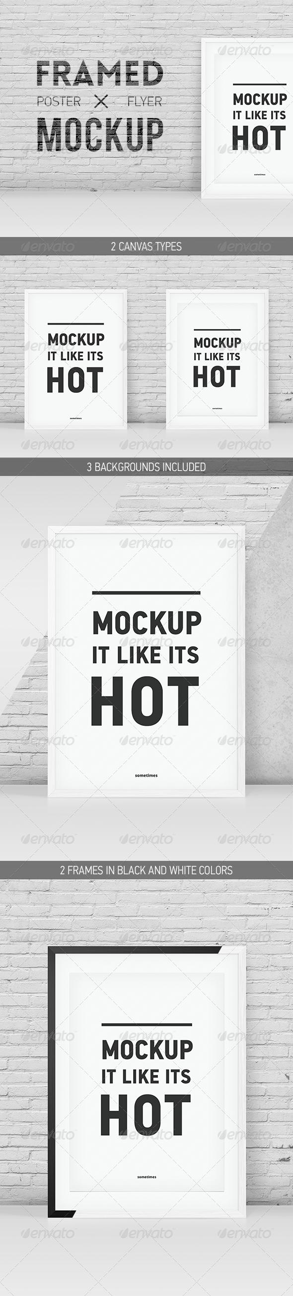 Minimalistic Framed Poster Flyer Mockup - Posters Print