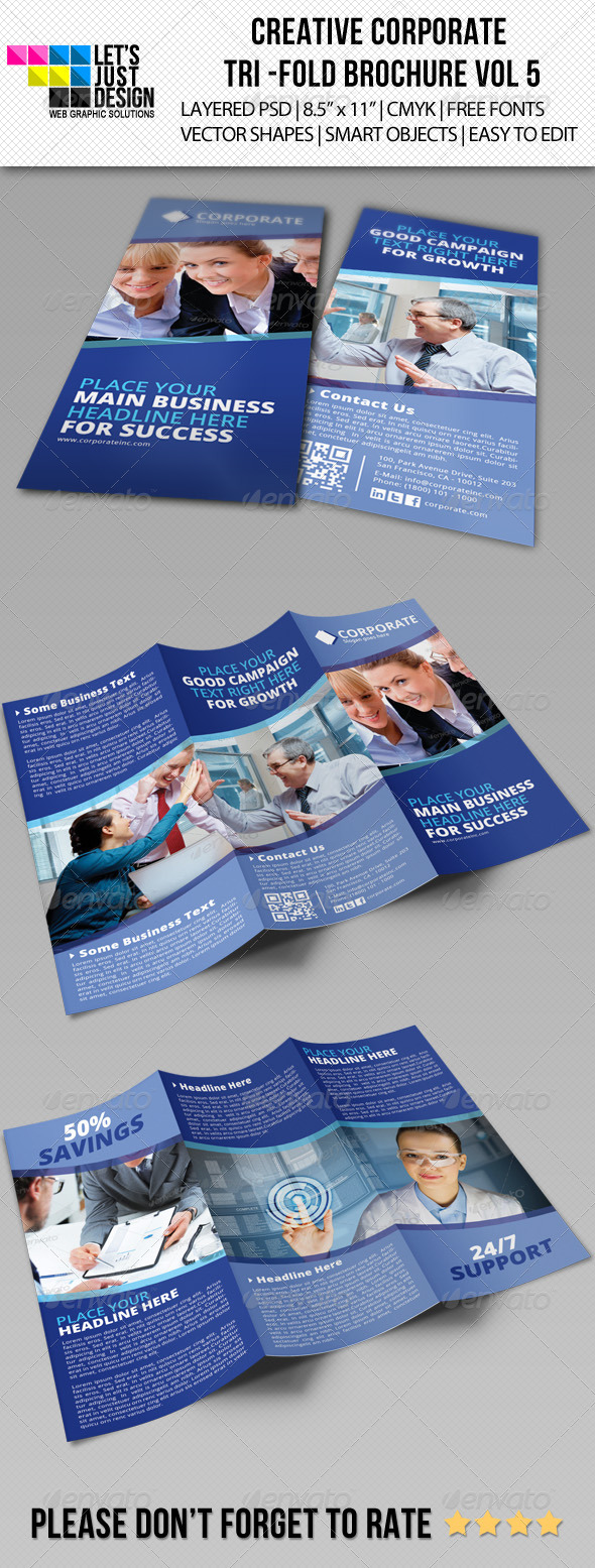 Creative Corporate Tri-Fold Brochure Vol 5 - Corporate Brochures