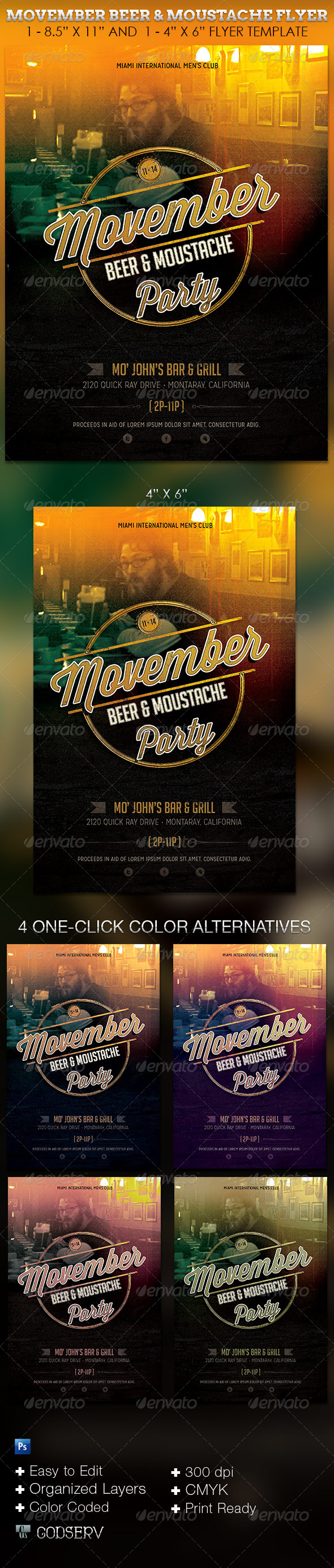 Movember Beer Moustache Party Flyer Template - Clubs & Parties Events